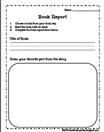 Free printout outline of a book report