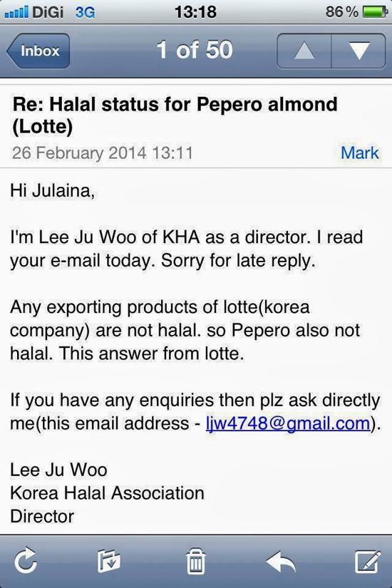Lotte Pepero Tiada Status Sah Halal