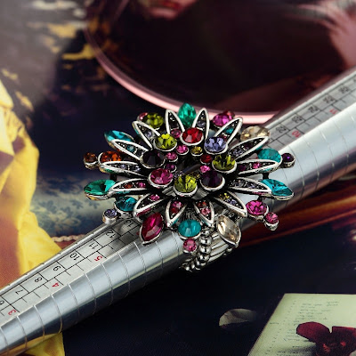 sunflower rings large rhinestone flower rings