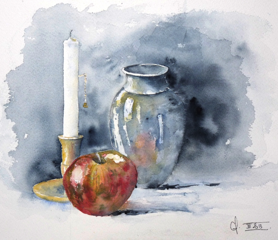 Chf en couleurs nature morte la bougie - Dessin de nature morte ...