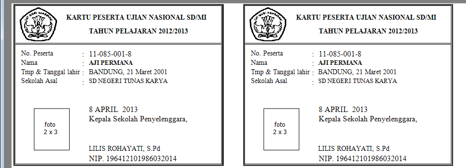 Sdn Tunas Karya Parongpong Bandung Barat Kartu Peserta Ujian Sekolah Ujian Nasional Dari Bios