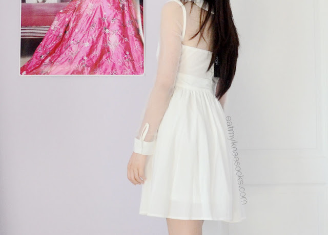Back view of the cute white sheer-paneled dress from Fanewant/nicedress on Storenvy.