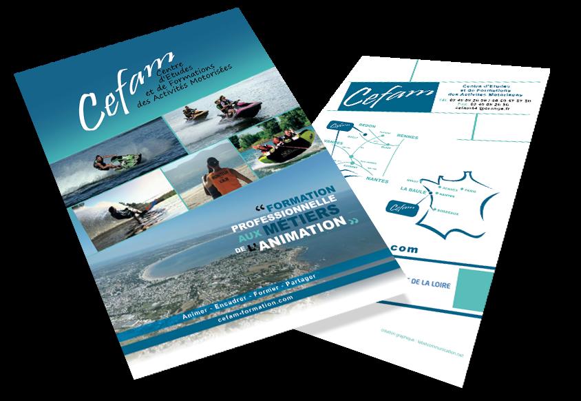 Création et réalisation de la plaquette Céfam (Centre d'étude et de formation des activités motorises (jetski, skysurf, bouet, quad…)) par Label comunication