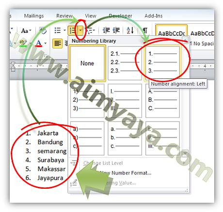 Gambar: Cara membuat penomoran baris (numbering) otomatis