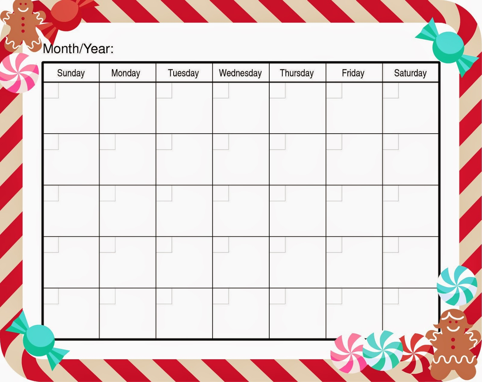 Blank Holiday Calendar : Blank calendar for kids to fill in search results