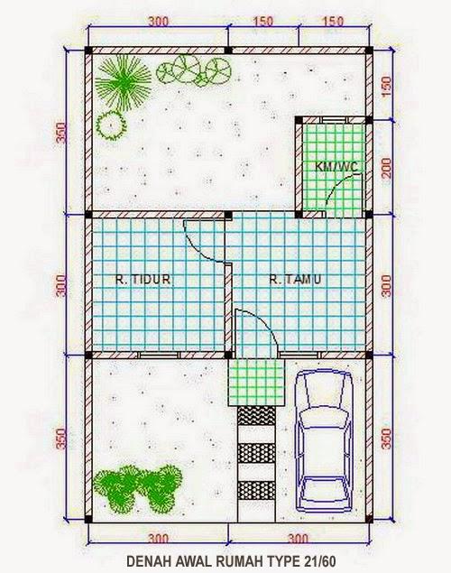 gambar denah rumah minimalis type 21 2 lantai