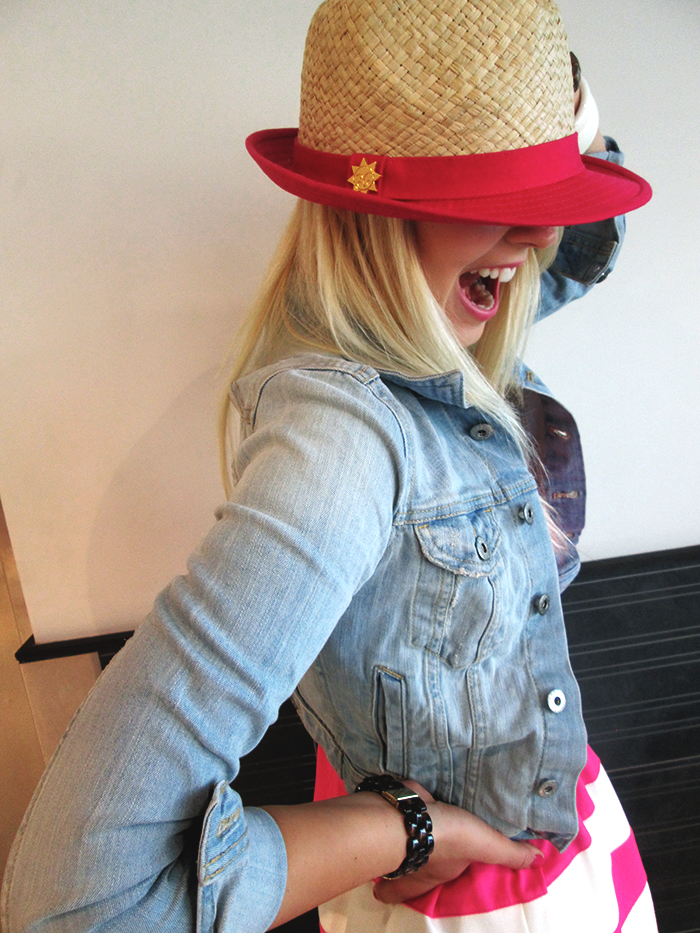 Jeans jacket, pink dress, hat