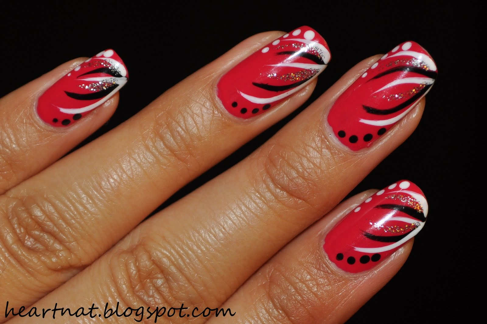 french nail art: Simple Freehand Nail Art
