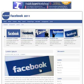 Facebook 2011 Blogger Template. image slider blogger template. 3 column footer template blog