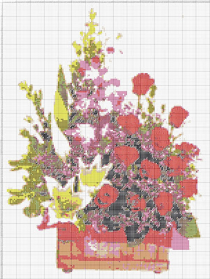 Gambar Pola Kristik Rangkaian Aneka Bunga