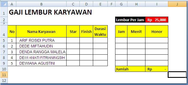 Buat tabel penggajian lembur karyawan dengan nama kolom Nomor, Nama ...