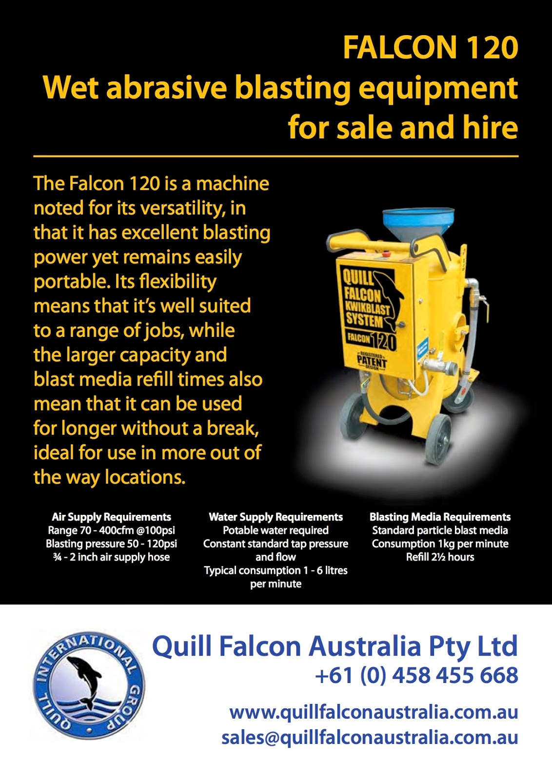 Falcon 120 | Quill Falcon wet abrasive blasting machines for sale and hire