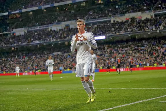 Real Madrid player Gareth Bale celebrates after scoring a goal against Real Valladolid