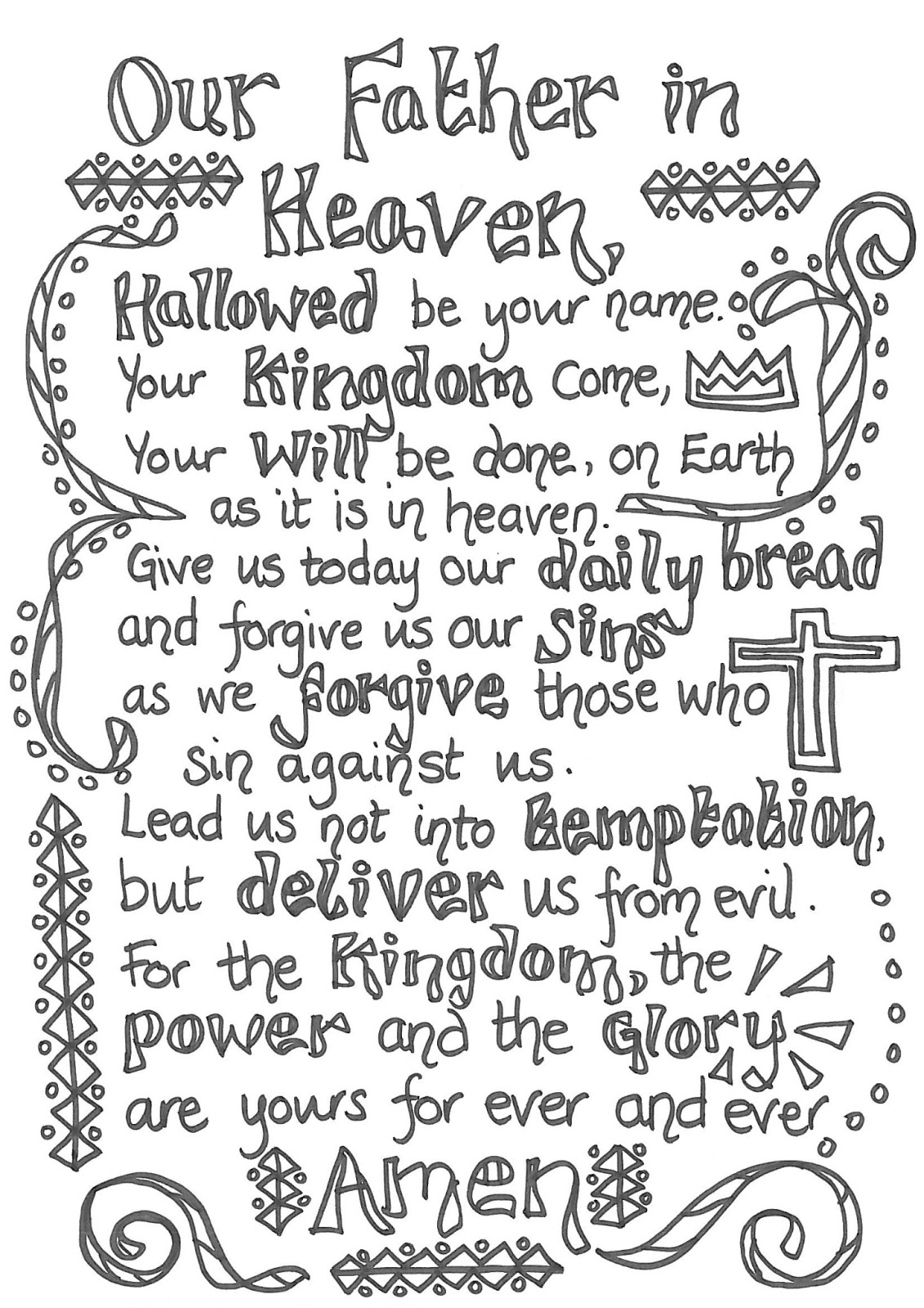 This is a picture of Nifty The Lord's Prayer Printable