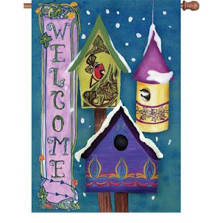 winter bird house garden flag