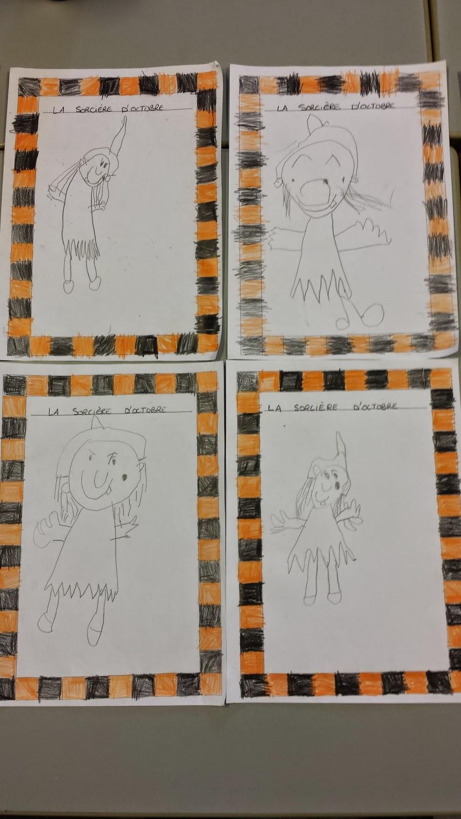 La maternelle de laur ne le bonhomme du mois dessiner une sorci re - Le dessin du bonhomme ...