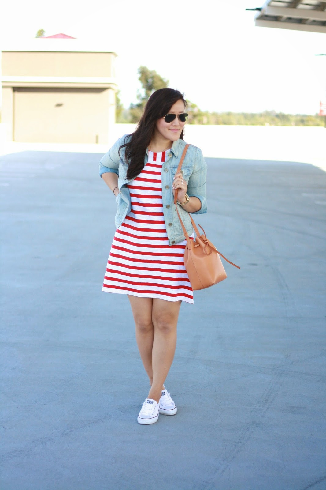 simplyxclassic, old navy style, striped dress, gap denim, chucks, outfit, ootd, orange county blogger, fashion, mansur gavriel, bucket bag, all american girl, stripes,