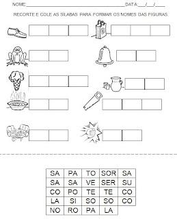 Atividades para a hipótese de escrita silábica alfabética. Complete o nome das figuras - Alfabetização