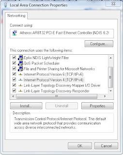 properties untuk konfigurasi ip dan dns