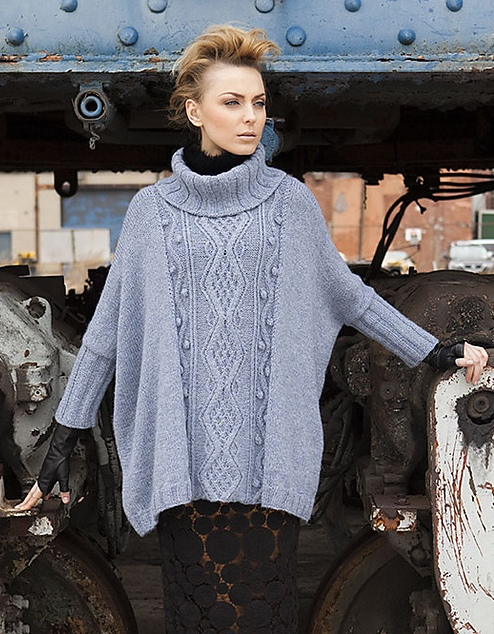 Vogue Knitting Cape Pattern : Nikkis Studio: Vogue Knitting: Cabled Poncho