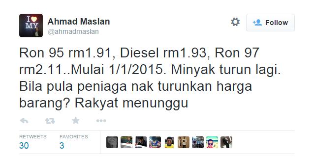 Harga Baru RON95, RON97 dan Diesel Turun Pada 1 Januari 2015