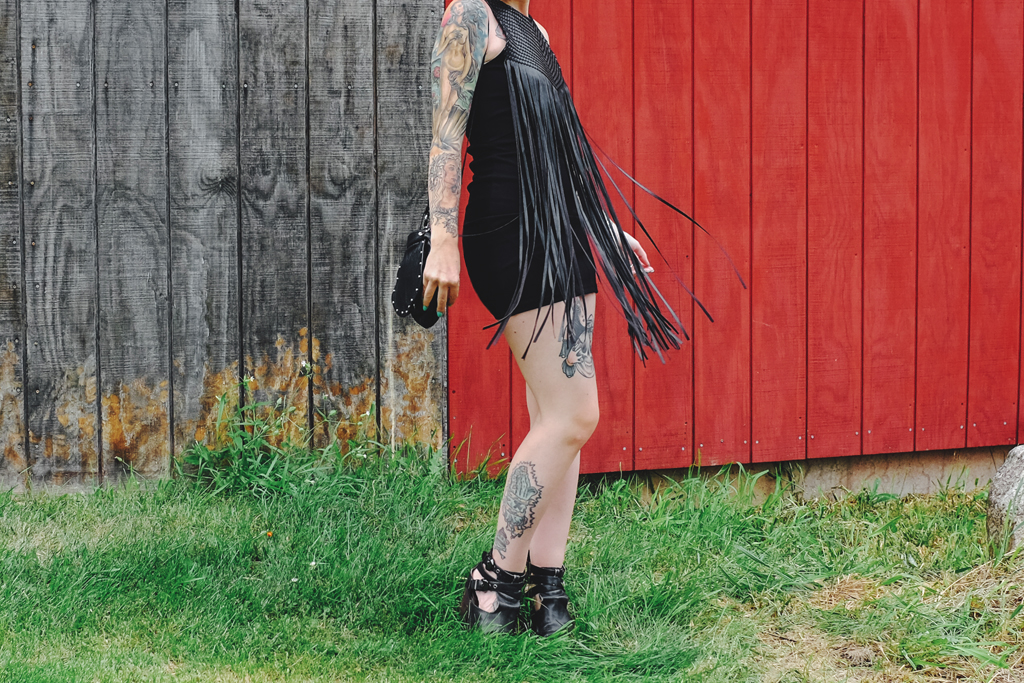 Wear a black leather fringe dress to a wedding - Wisconsin Farm Wedding