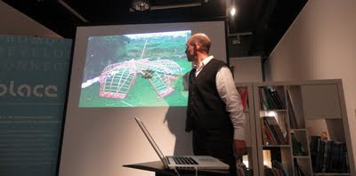 Merritt Bucholz explaining about the Cruth Curach pavilion at Electric Picnic