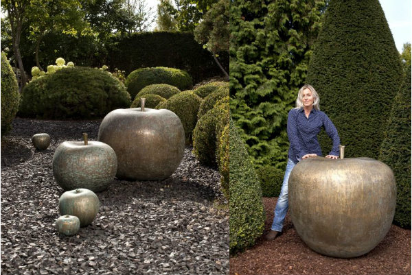 Ceramic apple sculptures spicytec for Garden accessories sale