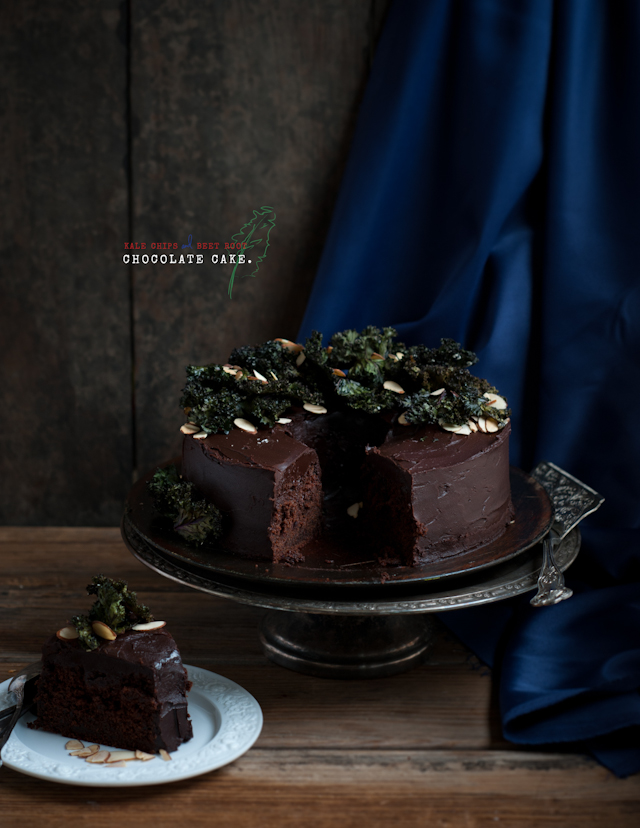 chocolate beet cake with kale chips and almonds, or the otherwise known as the