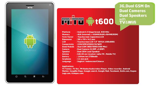 Tablet Mito T600 3G Dual GSM Kamera Speaker Plus TV Wifi
