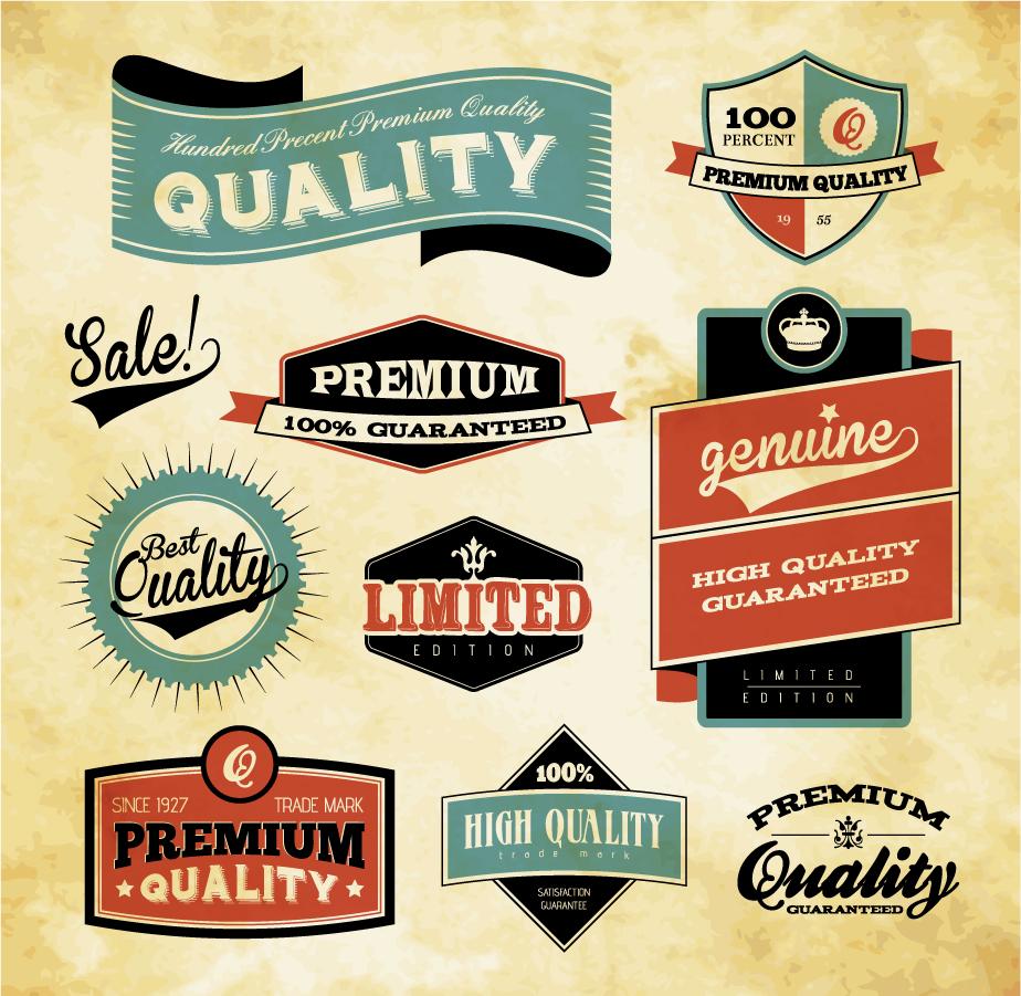 品質保証ラベル デザイン見本 retro label design イラスト素材
