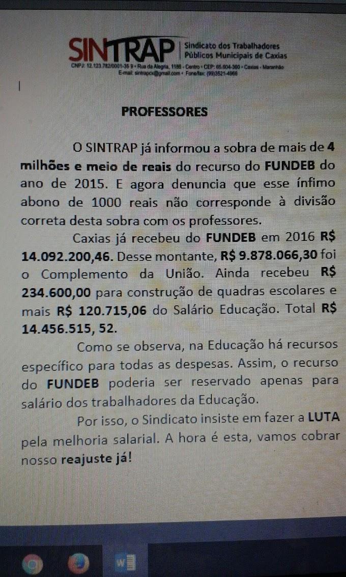 """""""O OUTRO LADO DA MOEDA"""": Sintrap repudia """"ínfimo abono"""" de mil reais anunciado pela prefeitura de Caxias"""