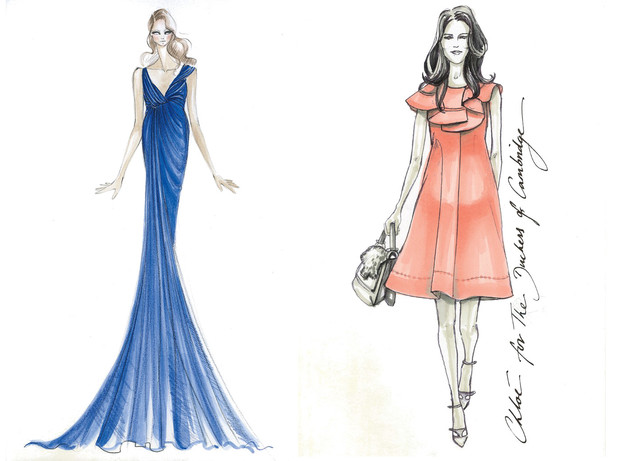 Sketches of dresses black and white which one of her dresses is