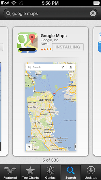 google maps app iphone