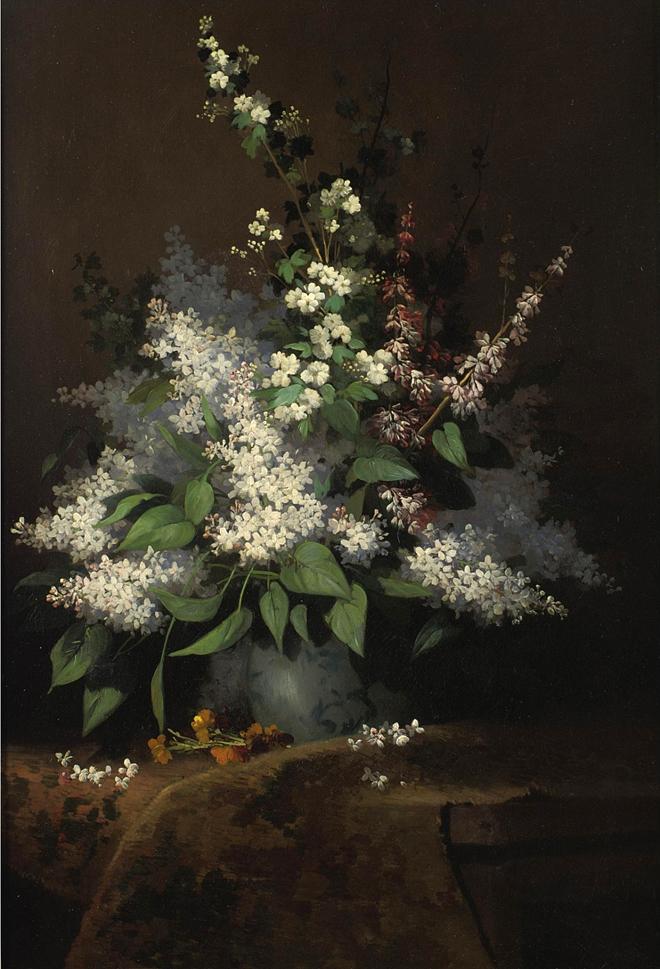 Bouquet of Lilacs, Alexandre Rene Defaux,1826-1900