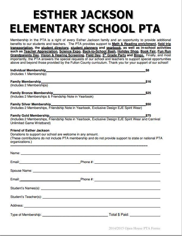 Esther jackson elementary pta pta memberships for Pta membership card template