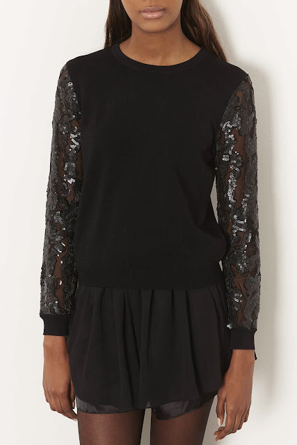 black sequin jumper topshop