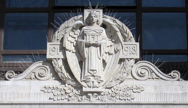 Over the door of the Freemasons' Hall on Great Queen Street, London. 10 April 2011