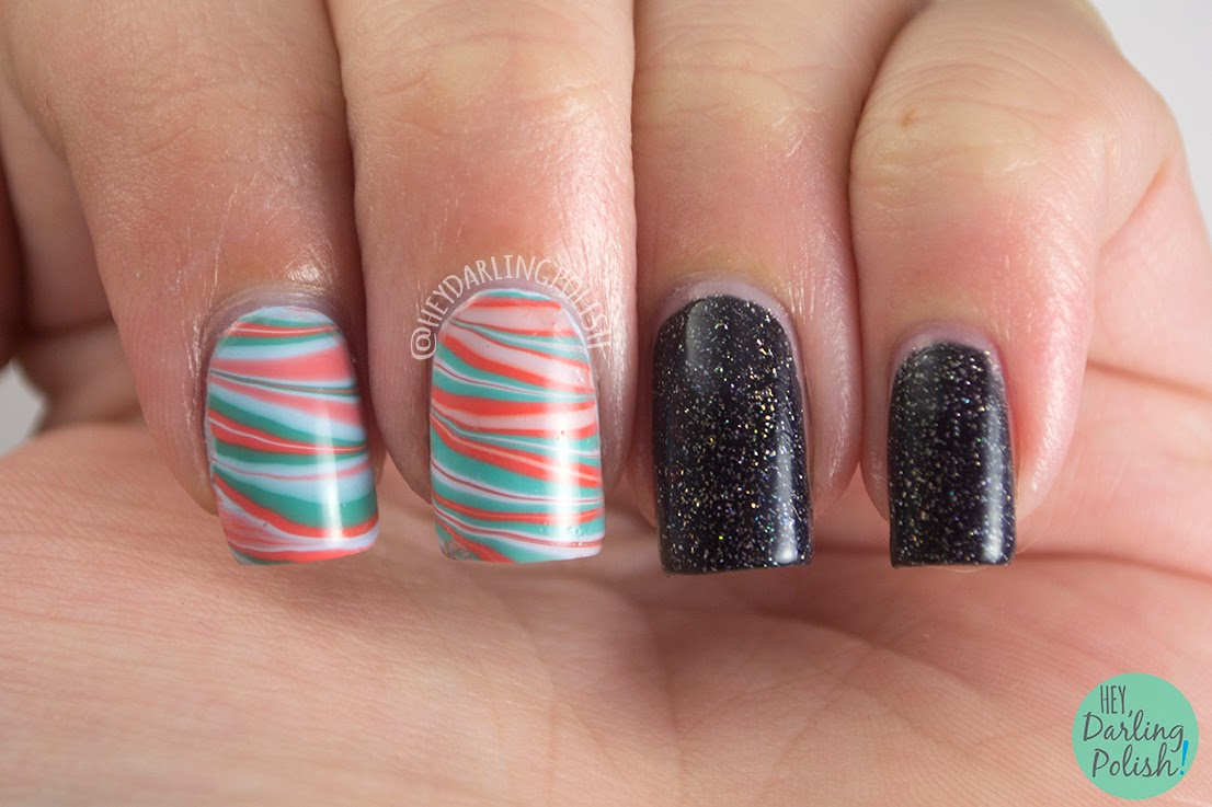 nails, nail art, nail polish, polish, zoya, zoya polish, watermarble, black, cocktail nails, hey darling polish, theme buffet