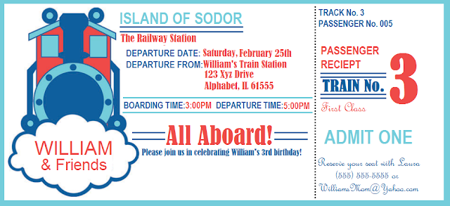 Train Theme Birthday Invitations