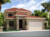 modelo de casa de dos pisos con tejas rojas