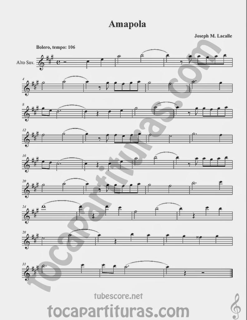 Amapola Partituras en Clave de Sol de Flauta, Violín, Saxo Alto, Oboe, Trompeta, Saxofón Tenor, Soprano Sax, Clarinete, Trompeta, Cornos, Trompa, Barítono, Voz... Bolero Sheet Music in treble clef for violin, flute, alto saxophone, trumpet, clarinet, horn, flugelhorn, baritone, voice...
