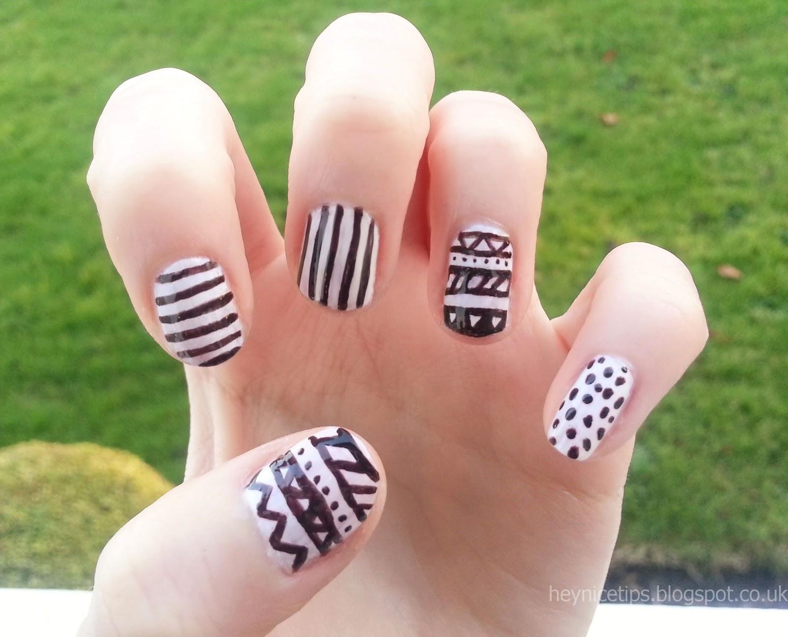 Hey Nice Tips Monochrome Aztec Spots Stripes Nails
