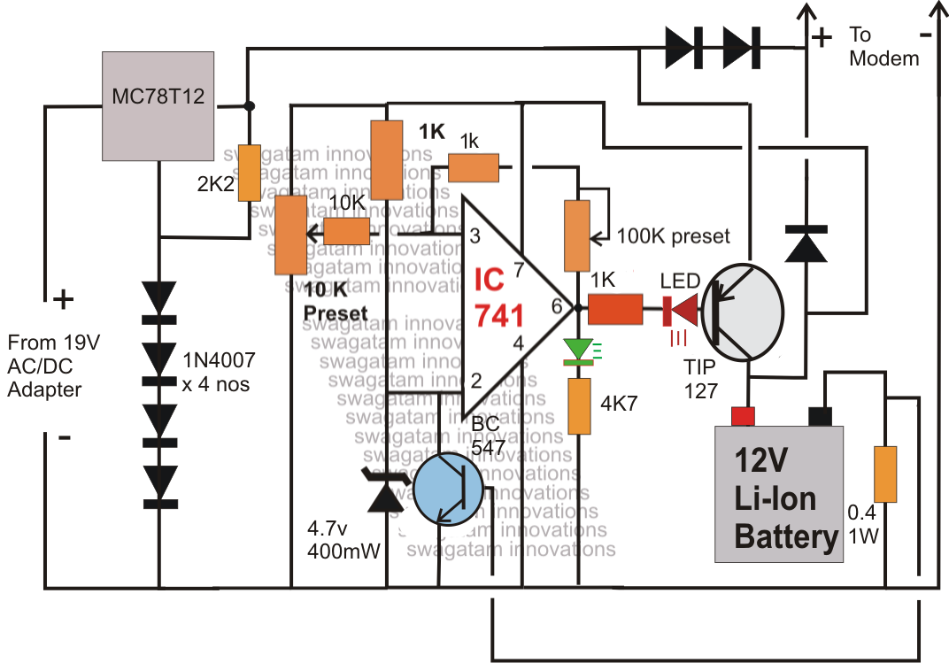 6v battery ups circuit diagram automatic  | 850 x 850
