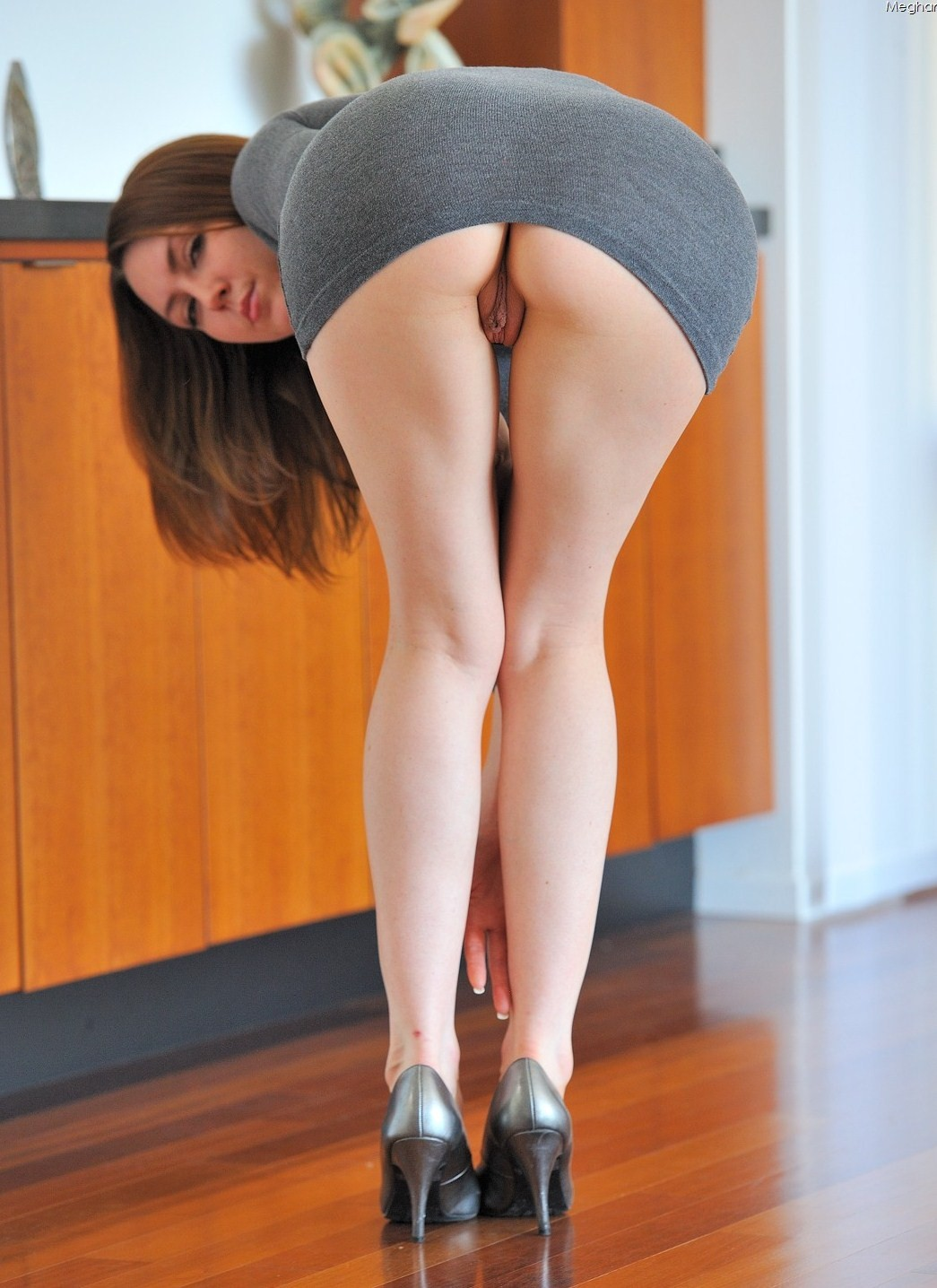 Secretary bent over skirt no panties