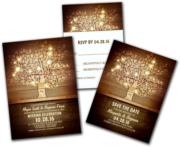 String Lights & Rustic Tree Wedding Invitations