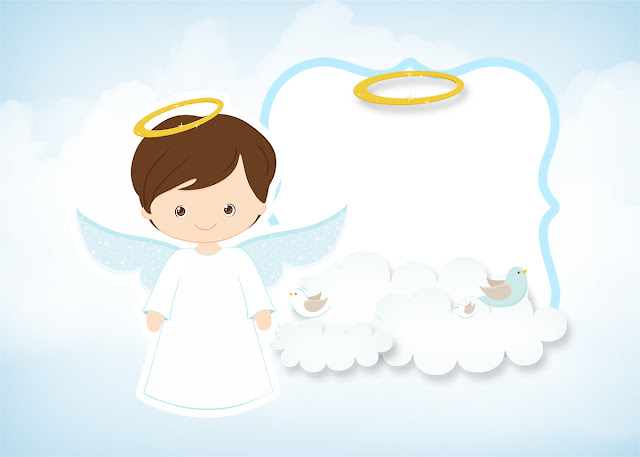 Cute Angel Boy: Free Printable Invitations. | Oh My Baby!