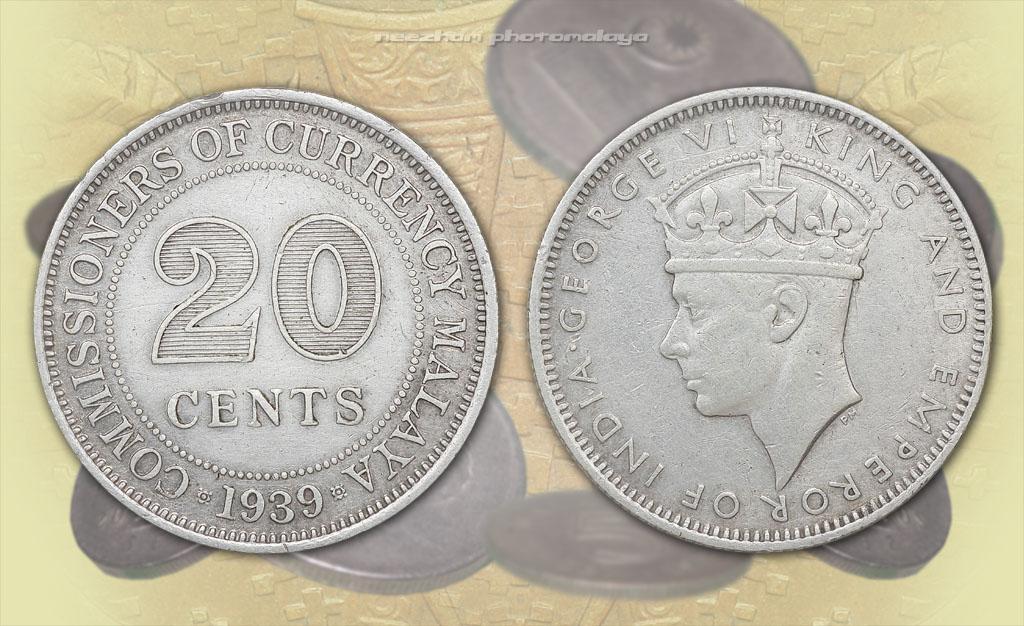 duit syiling lama Malaya 20 cents tahun 1939