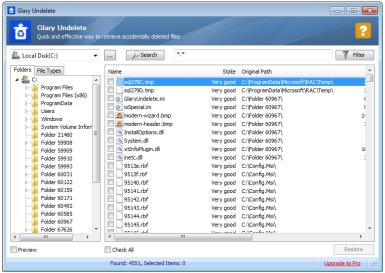 glary undelete software untuk mengembalikan data yang terhapus