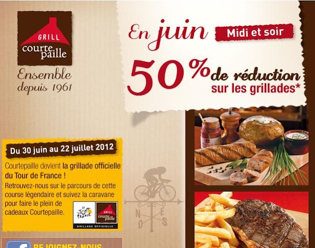 Offre Courtepaille: En juin midi et soir, 50% de réduction sur les grillades bonn plan courtepaille promo courtepaille 2012